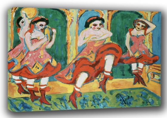 Kirchner, Ernst Ludwig: Czardas Dancers. Fine Art Canvas. Sizes: A3/A2/A1 (00495)